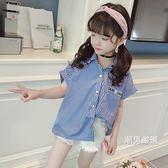 一件免運-短袖襯衫女童短袖襯衣2018夏季新品韓版條紋半袖襯衫中大童薄款時髦上衣潮