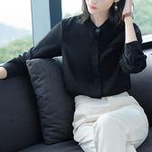 秋裝立領長袖襯衫女正韓黑色上衣打底衫寬鬆顯瘦雪紡衫潮 森雅誠品
