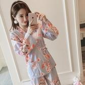 清新日式和服睡衣女春秋季長袖純棉甜美月子服韓版開襟家居服套裝 居享優品