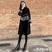中長款外套 黑色毛呢外套女中長款秋冬新款千鳥格赫本呢子大衣 愛麗絲