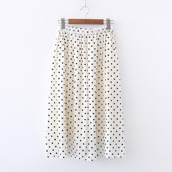 *ORead*高腰顯瘦垂感波點半身裙(米色F碼)