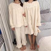 秋冬女裝韓版甜美可愛睡裙家居服套裝閨蜜加厚長袖睡衣睡褲兩件套