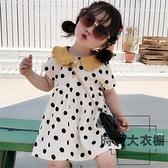 女童連身裙子女寶寶圓點娃娃領連身裙潮流公主裙夏裝【時尚大衣櫥】