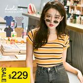 LULUS特價-Y-配色橫紋合身短版上衣-4色  現+預【01052701】