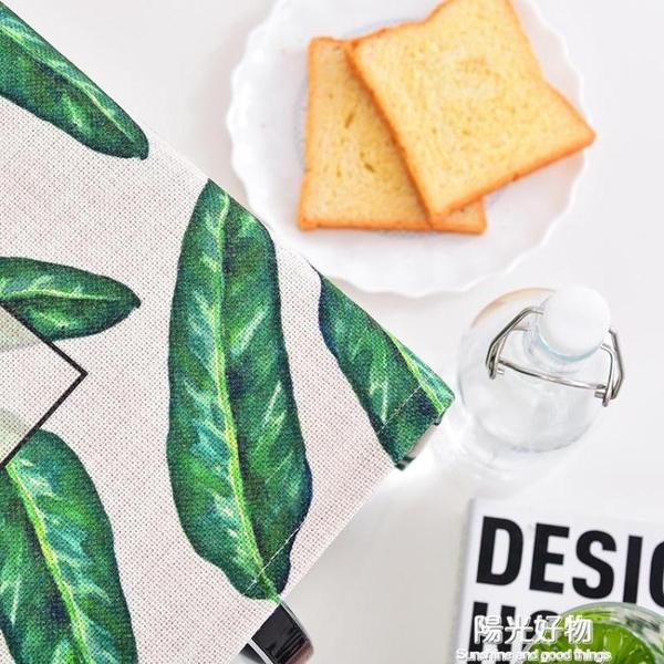 防塵罩棉麻蓋巾格蘭仕美的微波爐罩布藝子烤箱防油套蓋布綠葉子 陽光好物