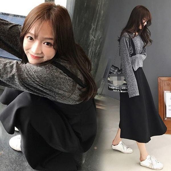 漂亮小媽咪 韓系 吊帶裙 套裝【DS3062】背心裙 套裝 吊帶洋裝 連身裙