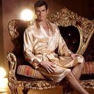 真絲情侶長袖睡衣睡裙女夏男士睡袍浴袍薄款兩件套裝絲綢性感