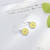 檸檬耳環女純銀氣質耳釘耳墜