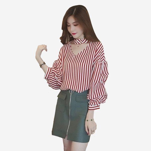 韓版V領鏤空立領釦堆堆長袖條紋上衣(咖啡 黑) 11812054