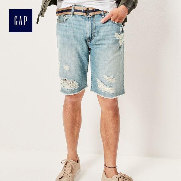 Gap男裝 修身中腰做舊細節牛仔短褲 446100-淺色輕微破洞