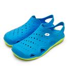 LIKA夢 LOTTO 戶外休閒輕潮洞洞鞋 排水透氣涼鞋系列 藍螢綠 0916 男