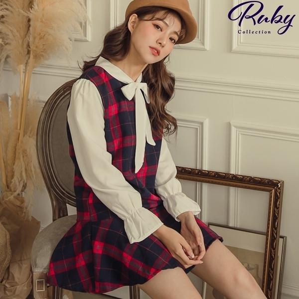 洋裝 格紋綁帶魚尾毛呢長袖洋裝-Ruby s 露比午茶