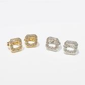 防抗過敏 空心正方形 天然白水晶 耳環耳圈扣-金、銀