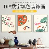 冠格diy數字油畫中式客廳節氣風景花卉手工手繪油彩裝飾畫填色 NMS造物空間