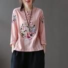全場促銷95折 秋季大碼女裝民族風盤扣鳳凰刺繡圓領T恤棉寬松繡花棉麻長袖上衣