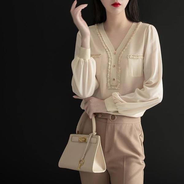 襯衫 新款雪紡衫女長袖v領上衣打底衫高端氣質襯衫洋氣小衫【牛年大吉】