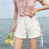 高腰側邊綁帶牛仔短褲女2018春夏韓版毛邊chic闊腿熱褲顯瘦褲子潮 森活雜貨