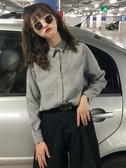 秋季新款韓版純色寬鬆長袖襯衫外套休閒百搭polo領上衣女學生 遇見初晴