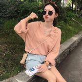 2018新款夏季韓版寬鬆連帽T恤休閑百搭純色長袖防曬上衣女裝學生