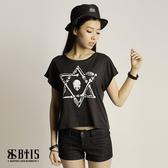 【BTIS】六芒星骷顱圖 短版T-shirt  / 黑色