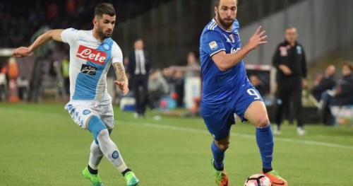 Foot - ITA - Coupe - Gonzalo Higuain provoque le président de Naples Aurelio De Laurentiis après son but