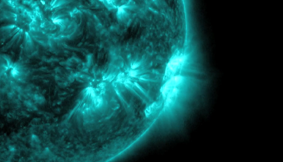 A powerful X-class solar flare erupted from the sun on Nov. 19, 2013.
