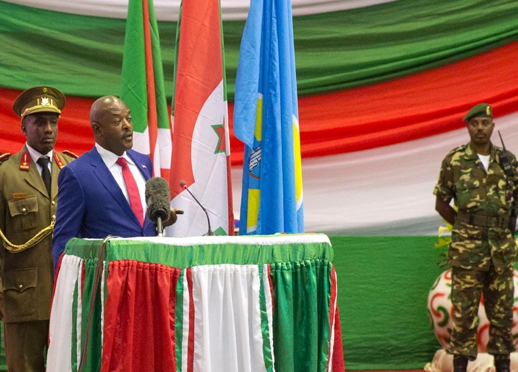 Burundi's President Pierre Nkurunziza gives a speech after being sworn in for a controversial third term in power, at the Congress Palace in Kigobe district, Bujumbura on August 20, 2015