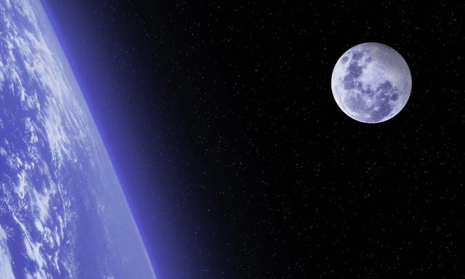 Bright Moon over cloud covered Planet Earth with stars - Outer space, space scene. Copy space. Moon image furnished by NASA. Moon image URL: https://www.nasa.gov/sites/default/files/styles/full_width/public/thumbnails/image/edu_distance_to_the_moon.png?itok=O69TYc4u