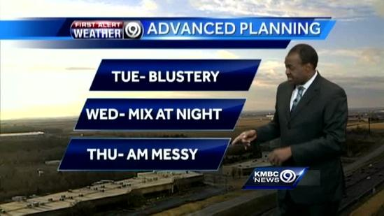 Blustery Tuesday precedes storm's arrival
