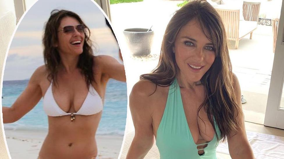 Liz Hurley, 55, 'homesick' as she stuns in tiny white bikin