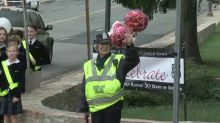 91-year-old school crossing guard marks 50 years of service