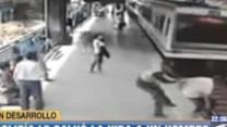 Officer saves man from train