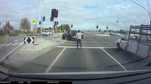 Why did this car randomly leave a man in the middle of the road?