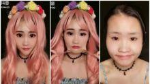 Asiáticas antes y después de maquillarse