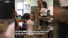 Soldier surprises daughter during school assembly