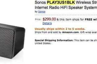 Sonos S3 / Play:3 all-in-one speaker system pops up at Amazon for $300, gets yanked post-haste