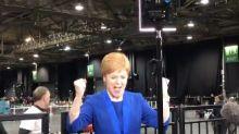 Nicola Sturgeon's Victory Dance Caught On Camera As SNP Ousts Lib Dem Leader Jo Swinson