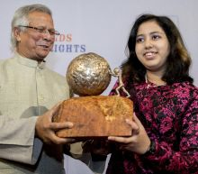 Teen eco activist spurs hope at children's peace prize award
