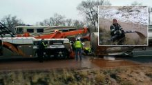 Highway turns to chocolate river after truck crash