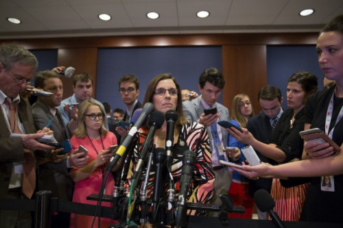 Rep. Martha McSally, R-Ariz., speaks to the media on the way to the house floor at Capital Hill after House Majority Whip Steve Scales, R-La., was shot.
