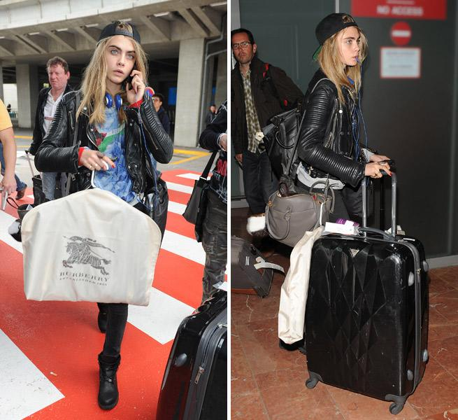 Cara Delevingne Arrives For The Cannes Film Festival With A Burberry Bag
