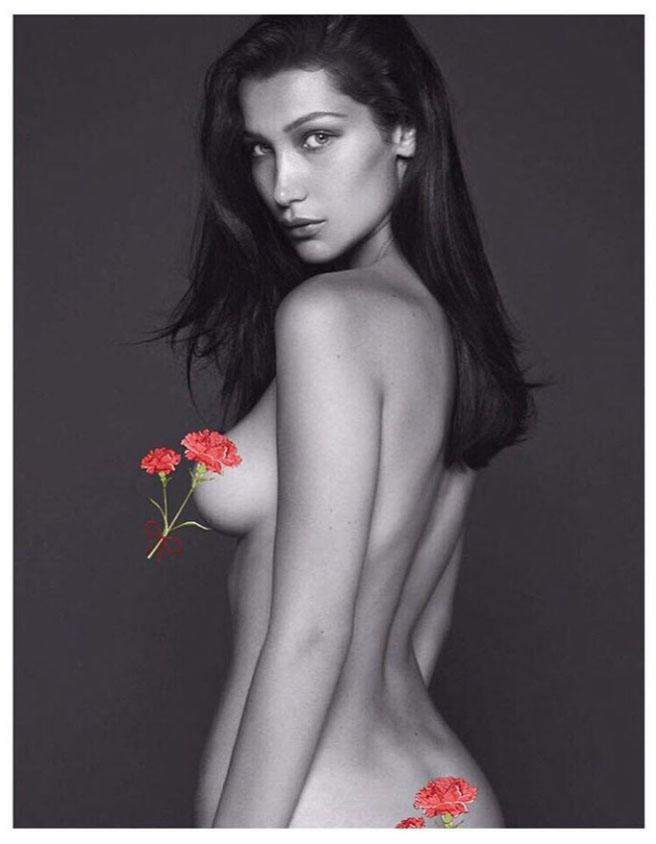 9515c7a28930 Bella Hadid Goes Totally Topless For Daring Vogue Shoot