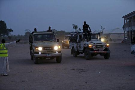 Vehicles transporting women and children rescued from Boko Haram in Sambisa forest by Nigeria Military arrive at the Internally displaced people's camp in Yola