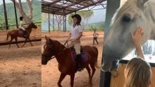 Victoria Beckham shows off Harper's horse riding skills as family continues Italian getaway