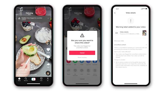 TikTok will now warn users before they share a video with content fact checkers are unable to verify.