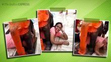 Viral video: Woman gets stuck under elephant statue at Gujarat temple