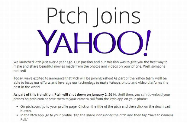 Yahoo absorbs movie-making app Ptch to bolster its photo and video efforts