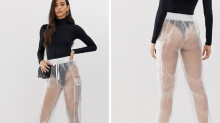 Internet users baffled by extremely revealing 'clingfilm' trousers