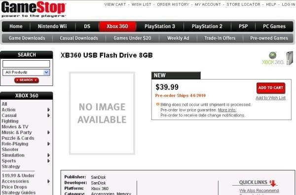 GameStop listing shows SanDisk's Xbox 360-branded USB drives at outrageous prices