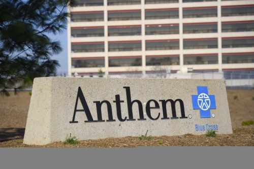 The office building of health insurer Anthem is seen in Los Angeles, California.